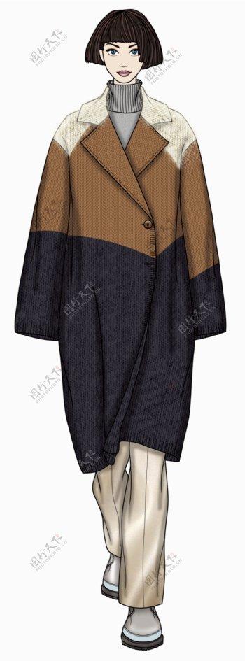 宽松版型大衣女装服装效果图
