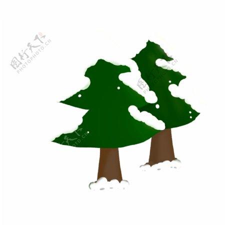 手绘卡通冬季圣诞节雪树儿童绘本装饰元素