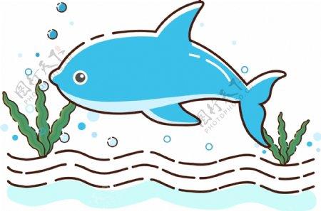 卡通手绘MEB风格鲸鱼矢量图