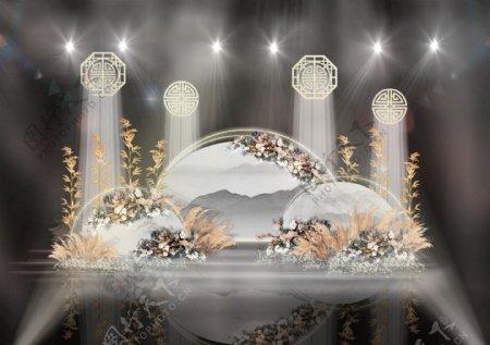 古典江南半圆水墨画竹子镂空装饰婚礼效果图