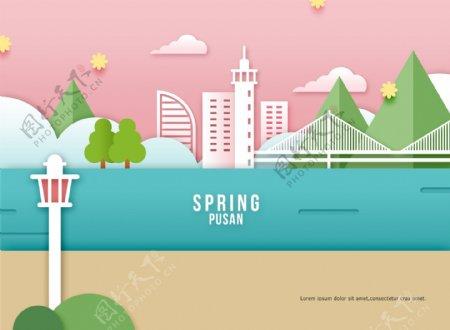 清新韩式春天气息卡通立体花朵建筑海报