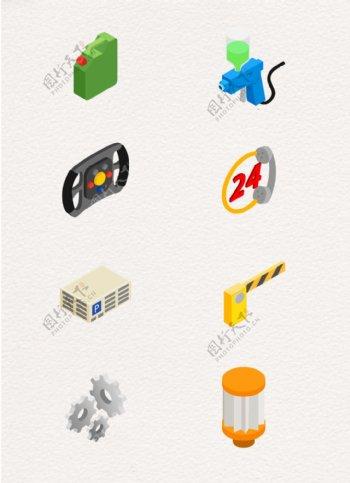创意矢量汽车服务图标元素