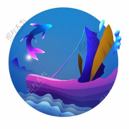 手绘炫彩海水帆船飞鱼边框