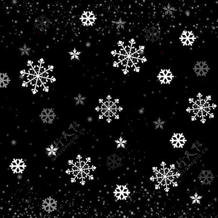 冬季白色飘雪下雪手绘装饰雪花浪漫漂浮