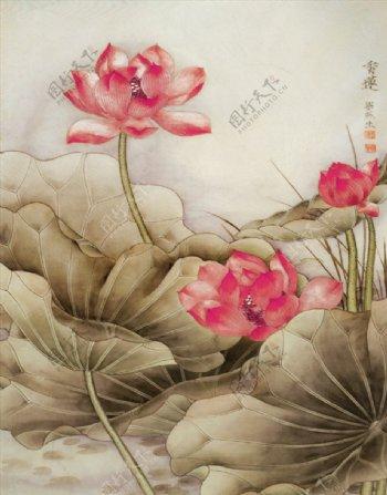 中式抽象水墨荷花玄关背景墙