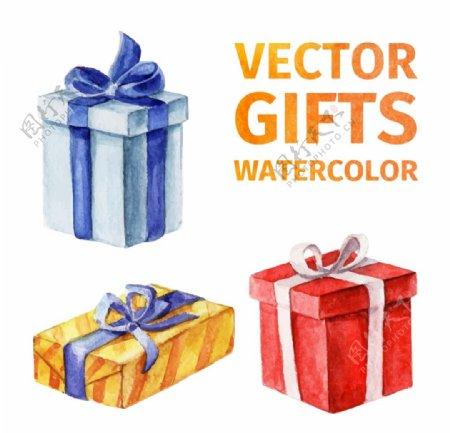 水彩礼物盒