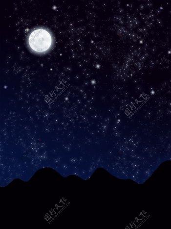 纯原创手绘星空月夜山峦唯美梦幻背景素材