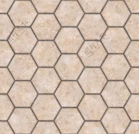 米黄色六边形瓷砖贴图