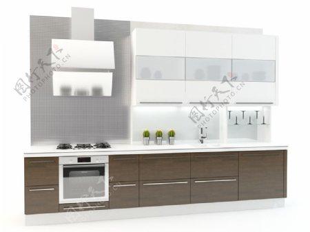 家用一体式橱柜3d渲染模型