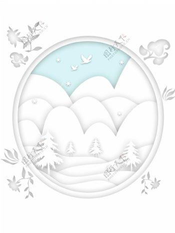 冬季纯白立体剪纸h5背景