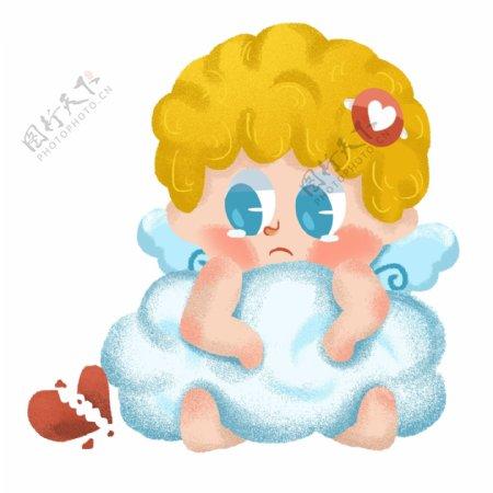 情人节爱神丘比特小天使卡通可爱小人伤心