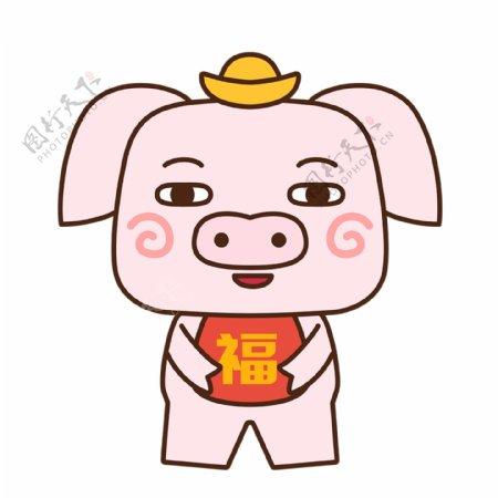gif动态猪小福猪年祝福卡通可爱表情包