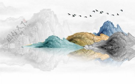 水墨抽象色彩山水玄关屏风电视背
