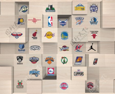 立体方块上的NBA标志背景底纹