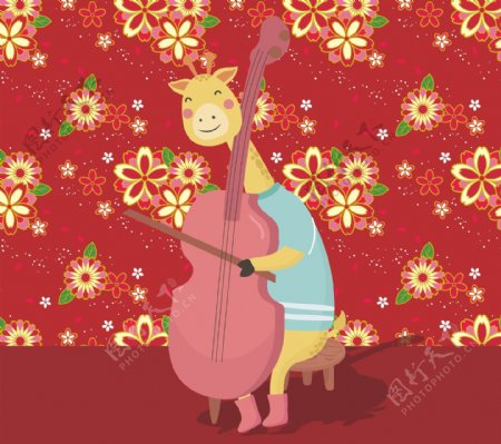 可爱长颈鹿弹大提琴
