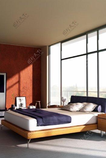 简约风格暖色系卧室MAX效果图