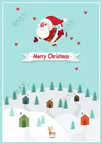 蓝色圣诞节雪景观主题海报艺术