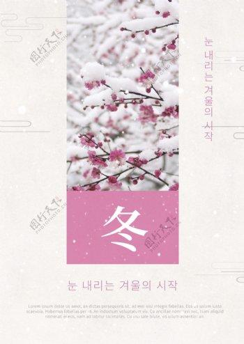 纯白色的花朵冬天海报
