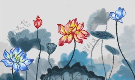 中式抽象水墨荷花背景墙