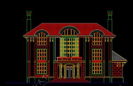 欧式别墅外立面CAD