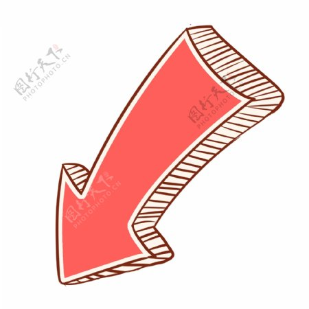 红色小清新手绘箭头