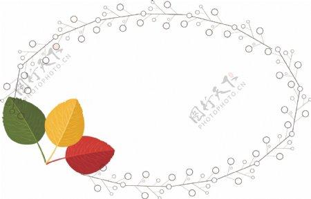 红黄绿树叶纹理边框下载