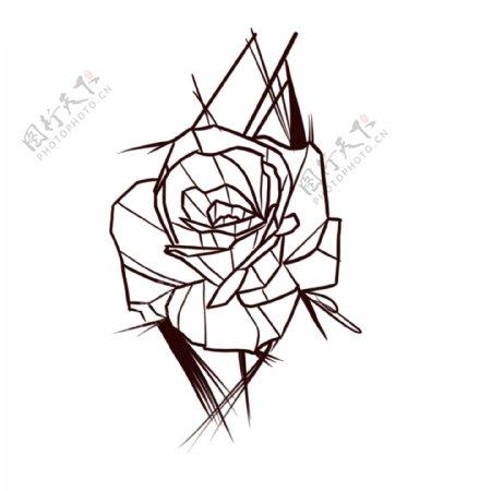 欧美纹身手稿手绘手绘玫瑰花