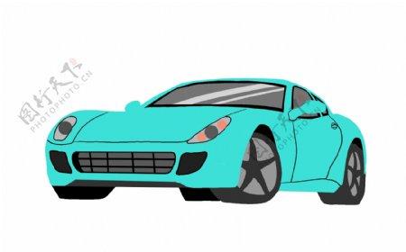 蓝色机动车辆跑车