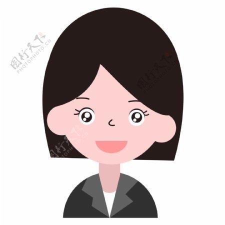 短发女学生卡通图