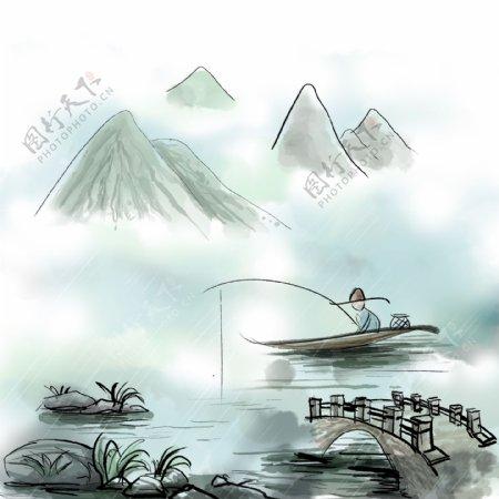 山水主题清明细雨卡通手绘