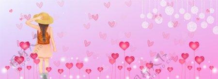 红色花朵少女节banner背景图