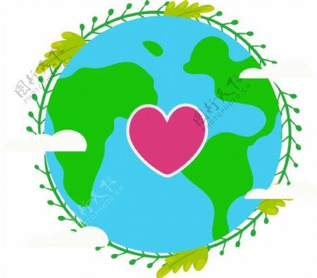 简约绿色世界地球日元素