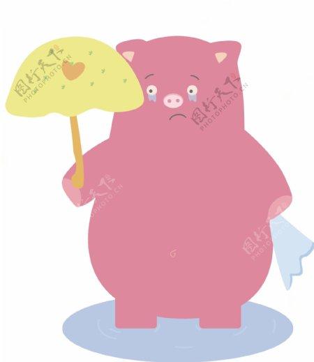 矢量手绘卡通粉色伤心小猪