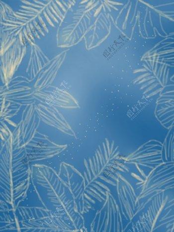 手绘草丛蓝色背景素材