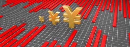 金融理财金融商业红色上涨人民币符号背景