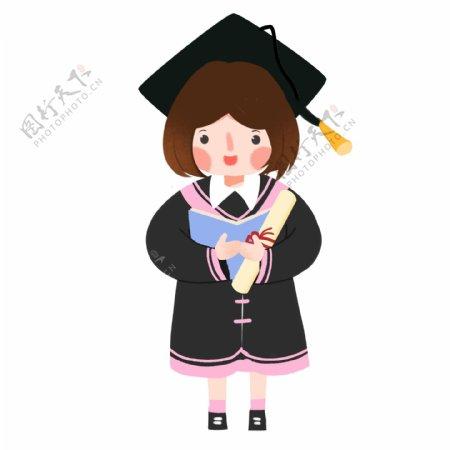 毕业季穿学士服的短发女孩