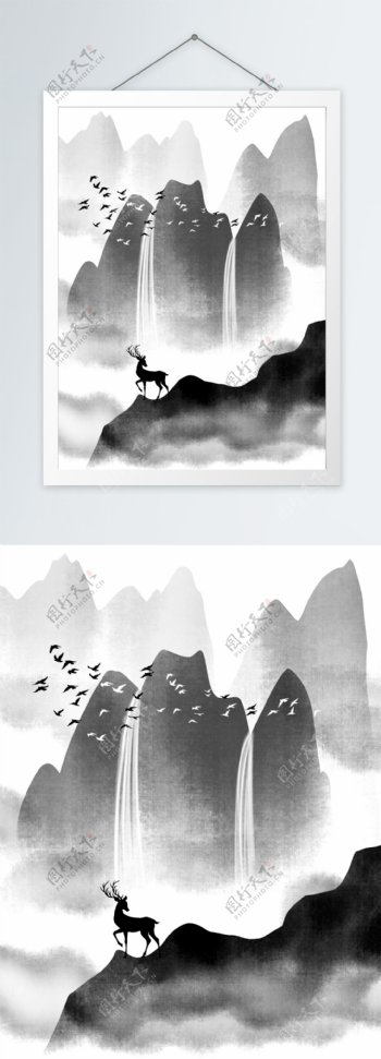 新中式水墨抽象山水装饰画