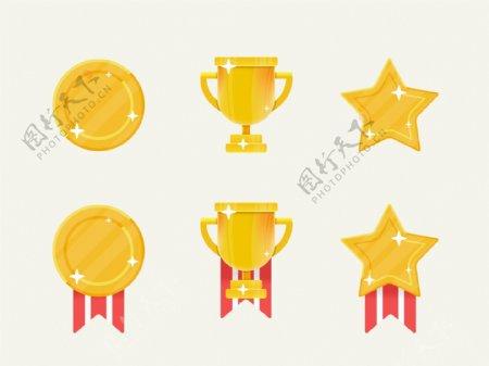 金黄色矢量插画奖牌icon设计