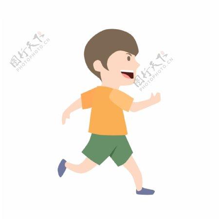 穿短袖跑步男孩
