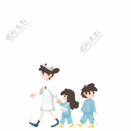 护士领着生病的小女孩免扣图
