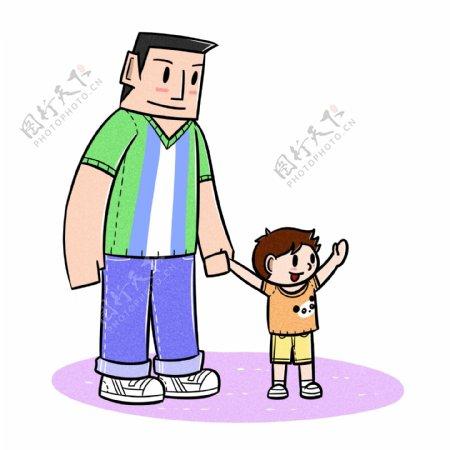 卡通父亲节父子夸张风牵手玩png透明底
