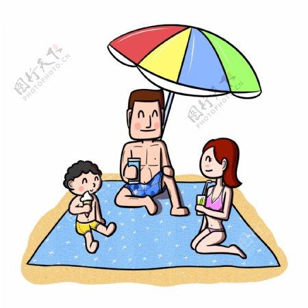 卡通全家人沙滩休闲png透明底