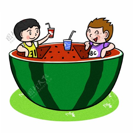 卡通儿童夏天和大西瓜png透明底