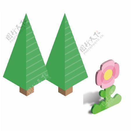 绿色的卡通植物