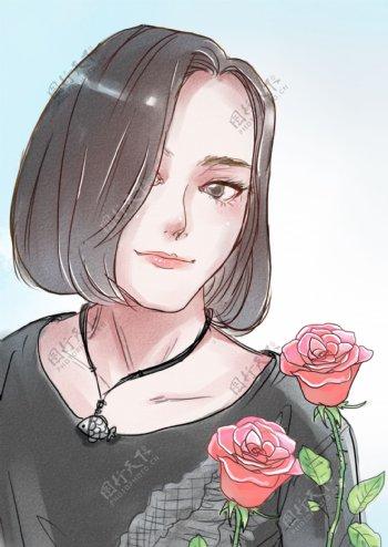 手绘水彩风短发美女漫画图