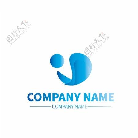 木料加工公司企业蓝色渐变商标LOGO标示