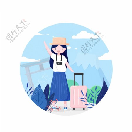 国庆旅游女孩行李箱手绘动态gif元素