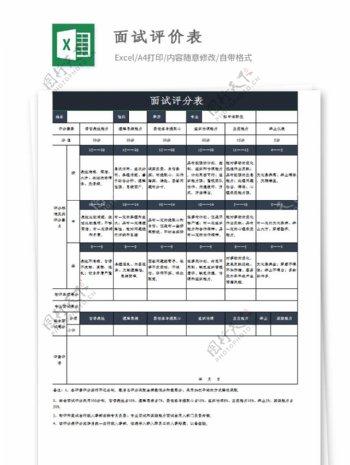 员工面试评分表Excel模板