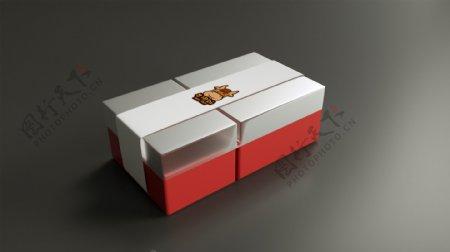 盒子样机一次性外卖盒带封口纸原创logo