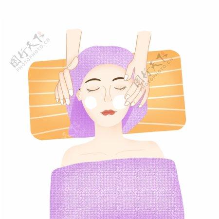 世界美容日女孩面部保养护肤